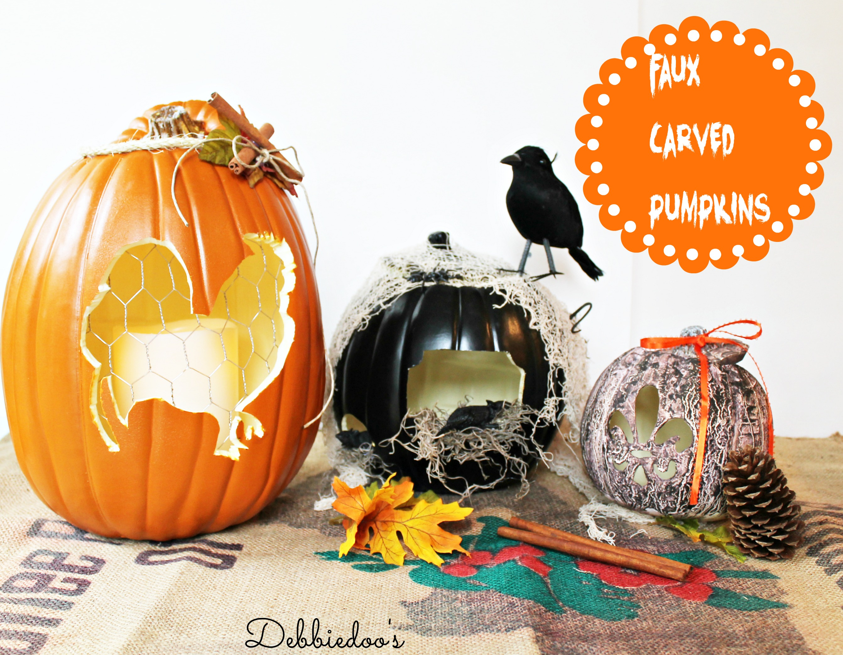 Faux carved pumpkins