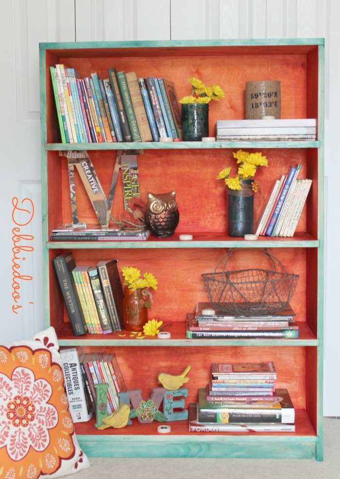 Funky fun book shelf painted with rit dye teal and tangerine