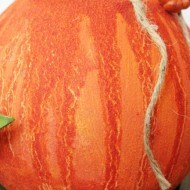 How to make a pumpkin out of a round glass vase with Rit dye and Gesso