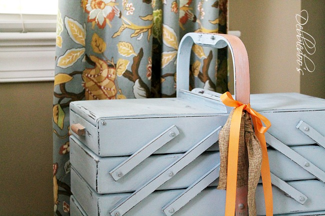 Repurposed vintage sewing basket