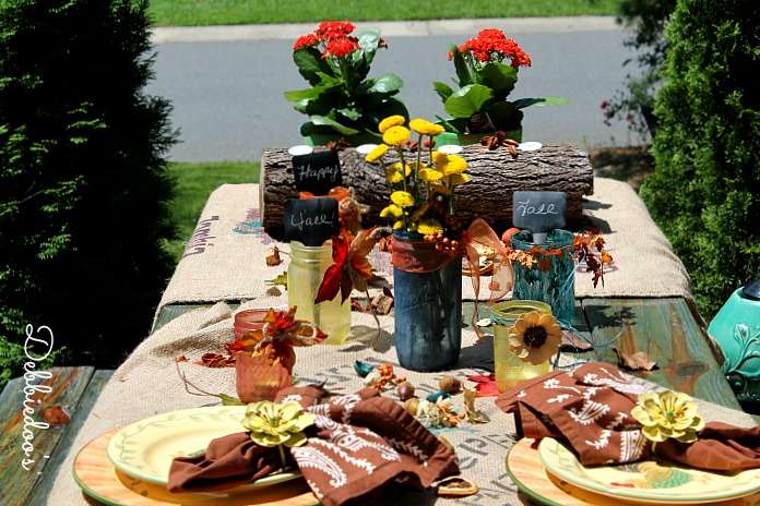 Rit dye and mason jar tablescape for Fall
