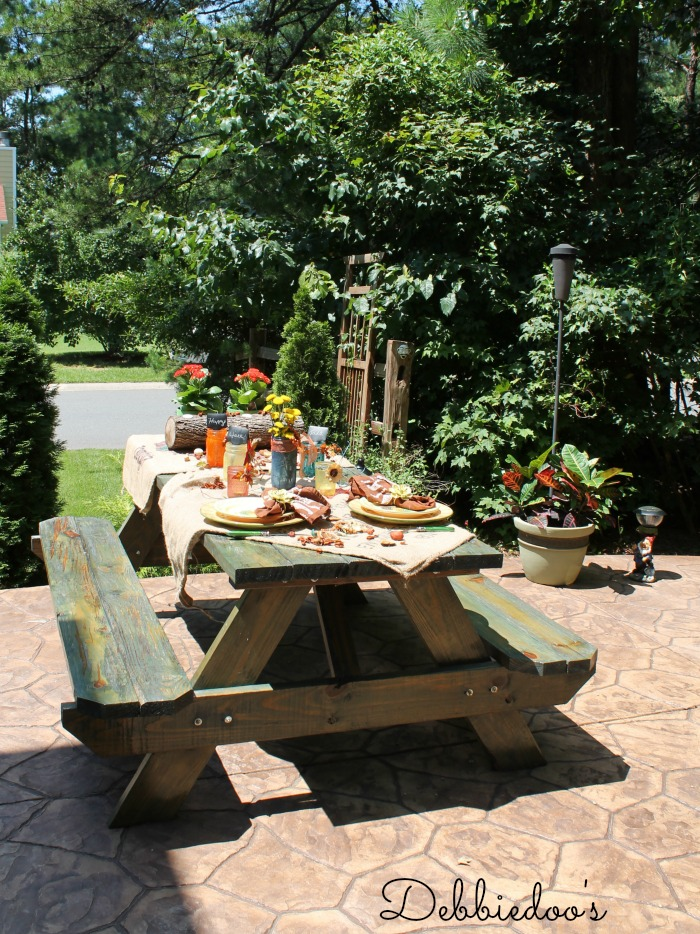 Rit dye tablescape on a picnic table