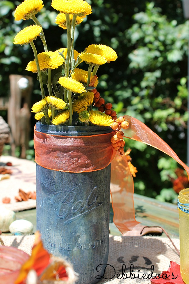 Rit dye tablescape royal blue with Fall flowers