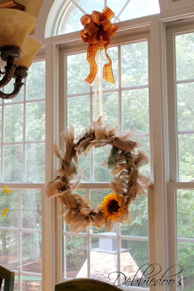 burlap rag wreath in window