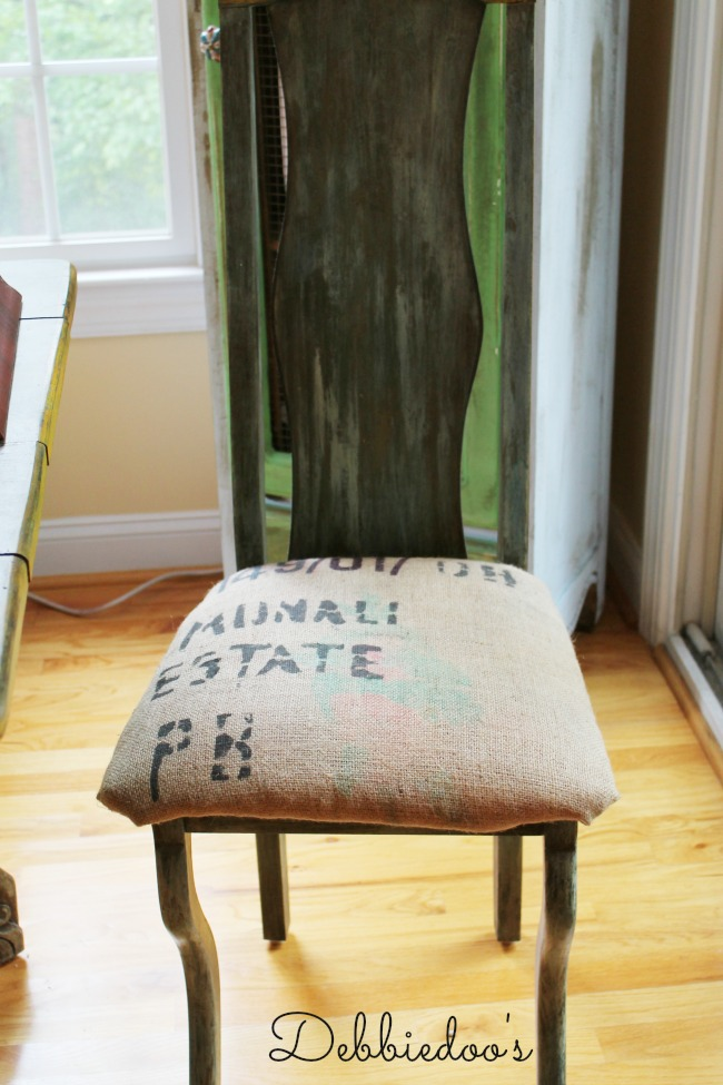 chair with burlap seat cushion