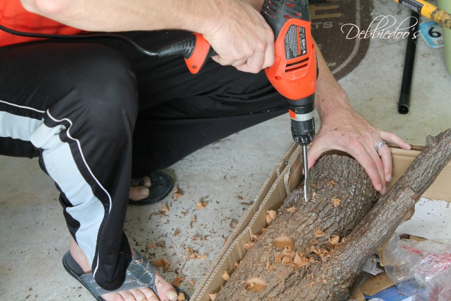 diy rustic centerpiece with a log