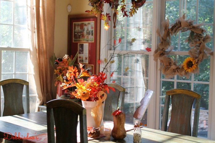Fall Kitchen decor, pumpkins, burlap wreath and gourds