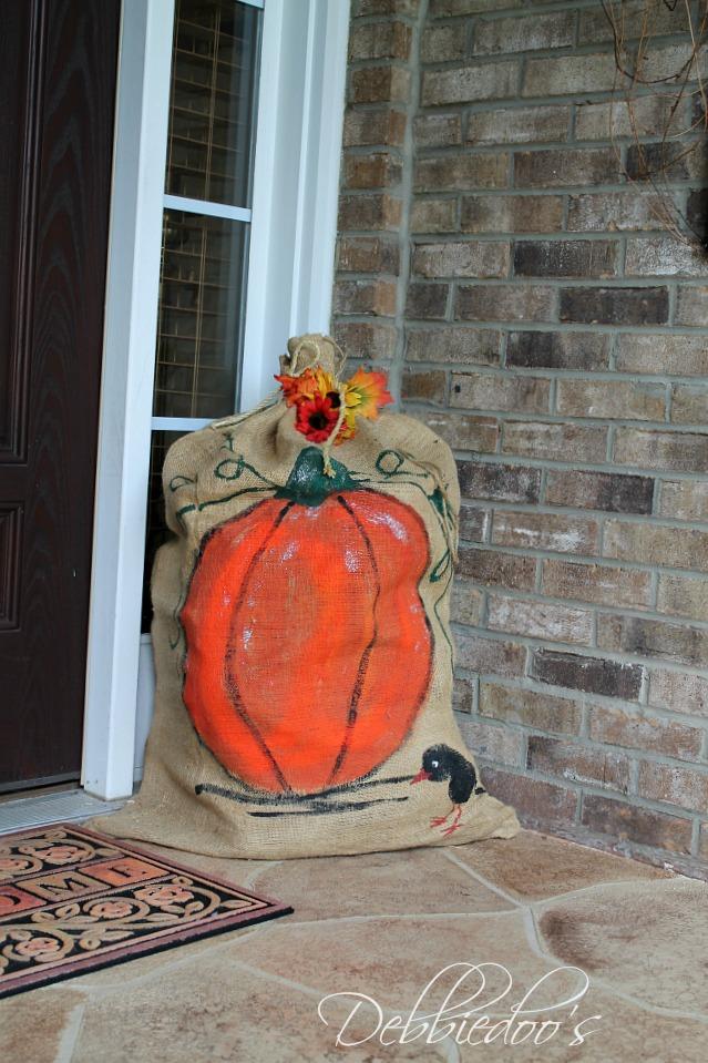 Burlap fall bag