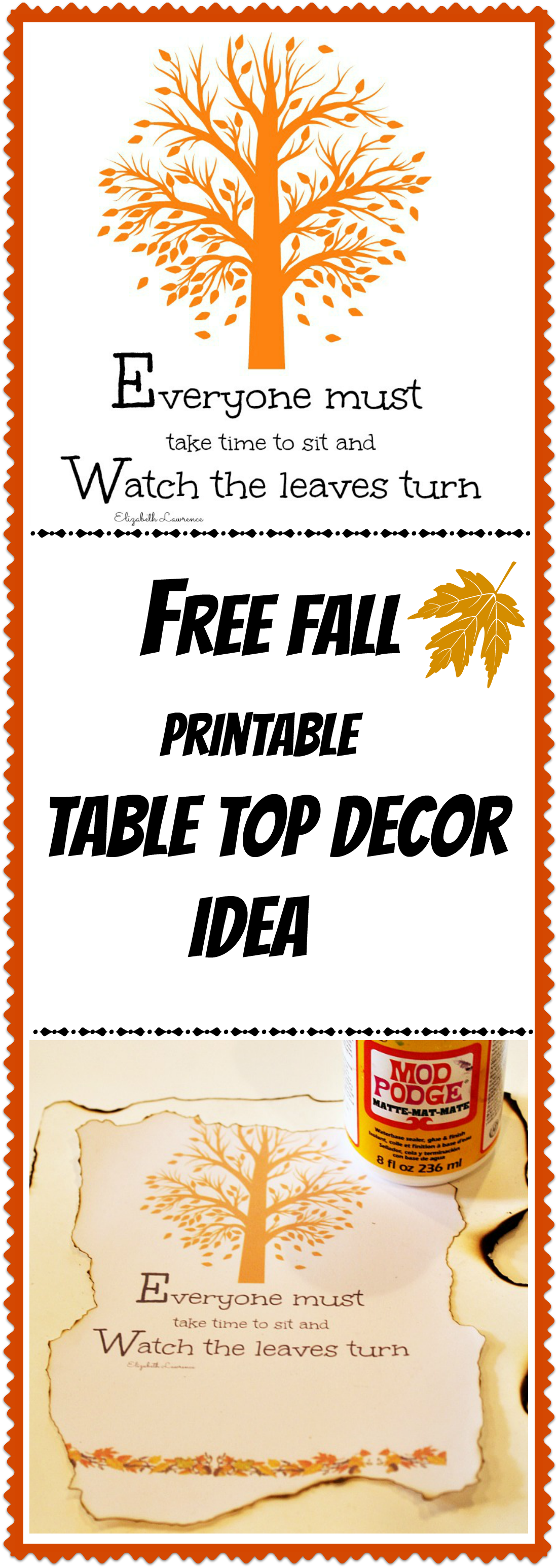 Free fall printable diy table top decor idea