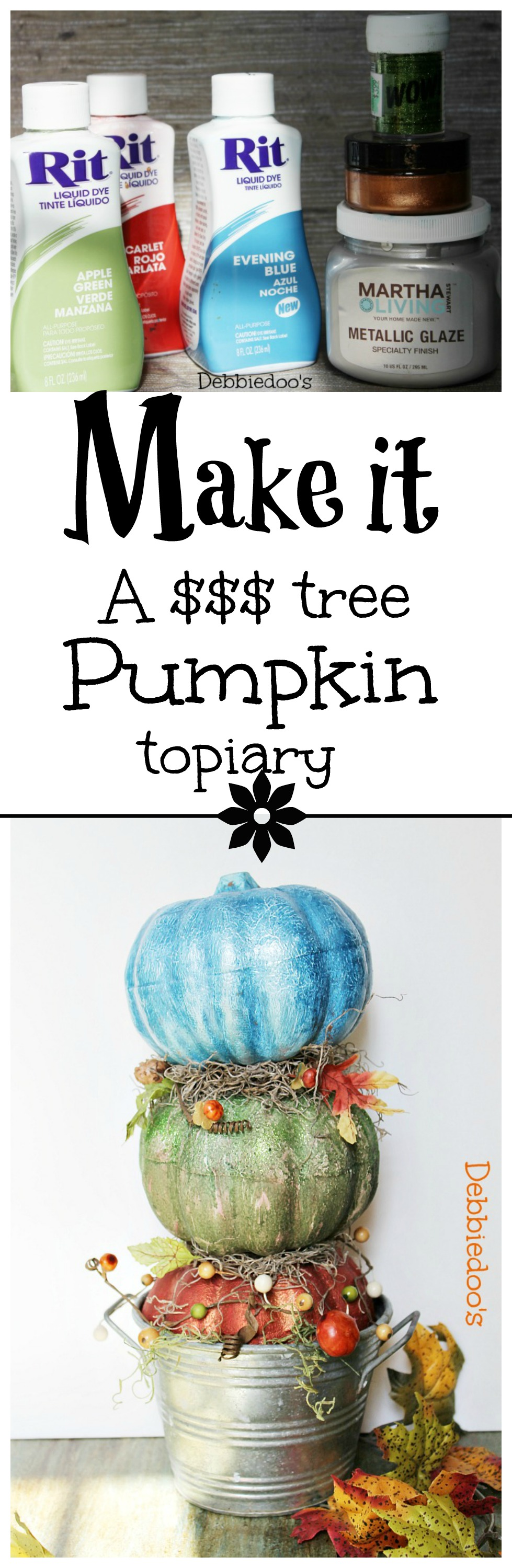 How to make a dollar tree pumpkin topiary and paint your pumpkins with rit dye