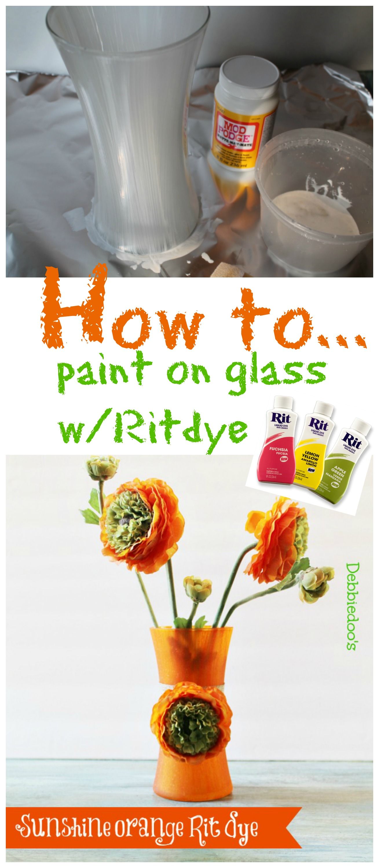 How-to-paint-on-glass-with-rit-dye Painting a vase with sunshine orange Rit dye