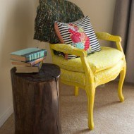 Tree Stump End Table By Chair