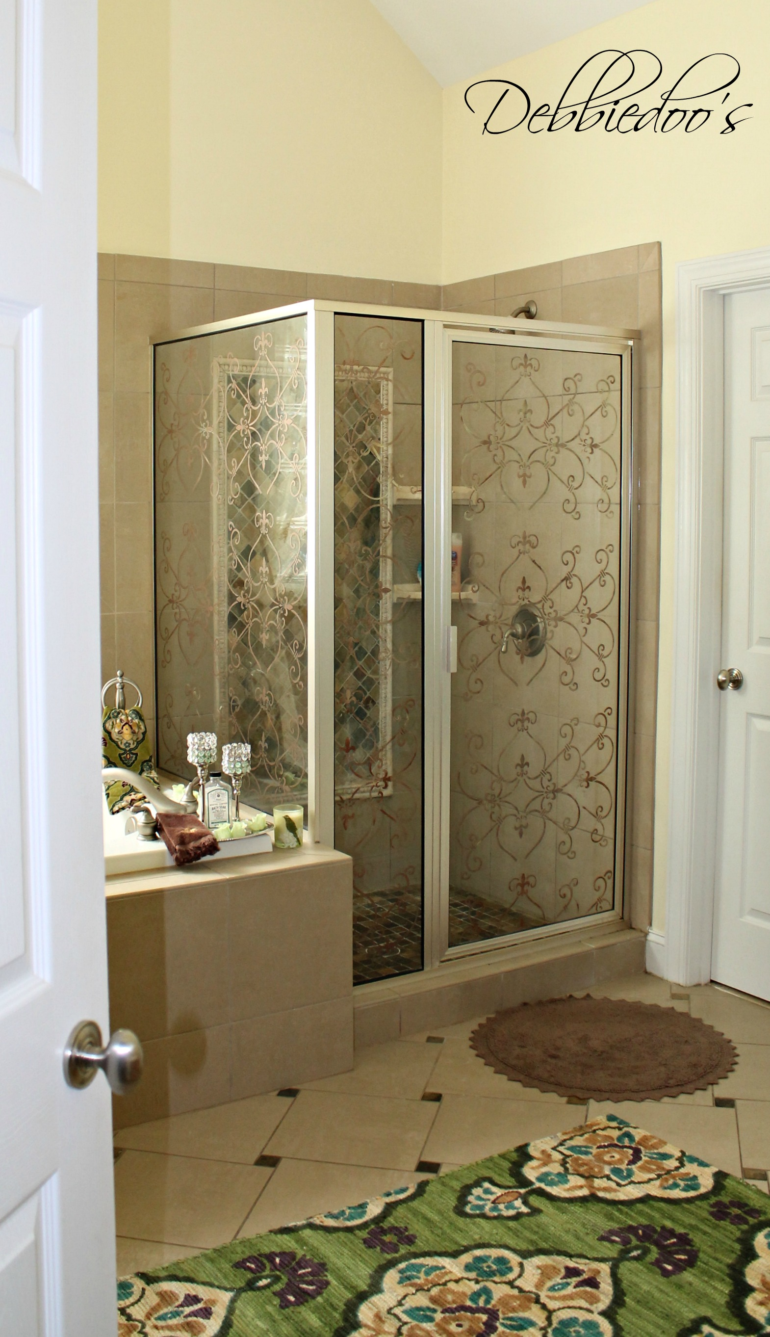 bathroom refreshed and stenciled shower door