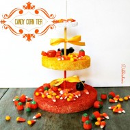 Candy corn tier out of Styrofoam