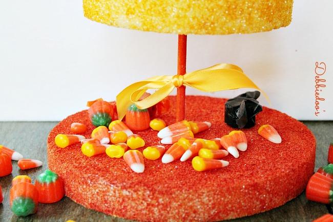 candy-corn-tier-sunshine-orange Candy corn tier out of Styrofoam