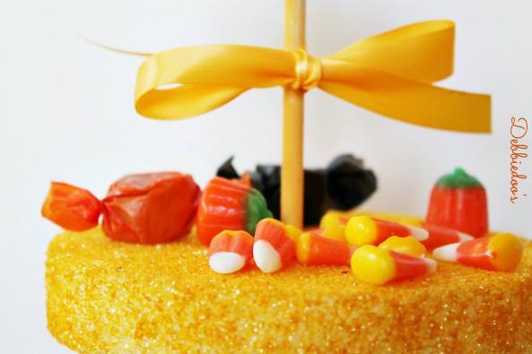 candy-corn-tier-yellow-rit-dye Candy corn tier out of Styrofoam