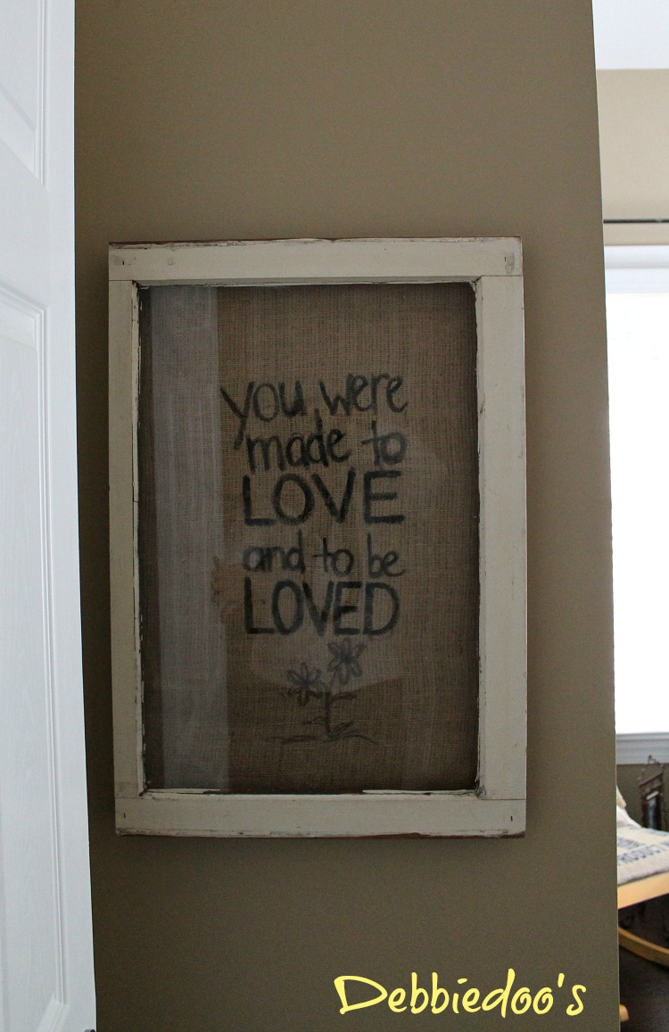 burlap art in vintage frame
