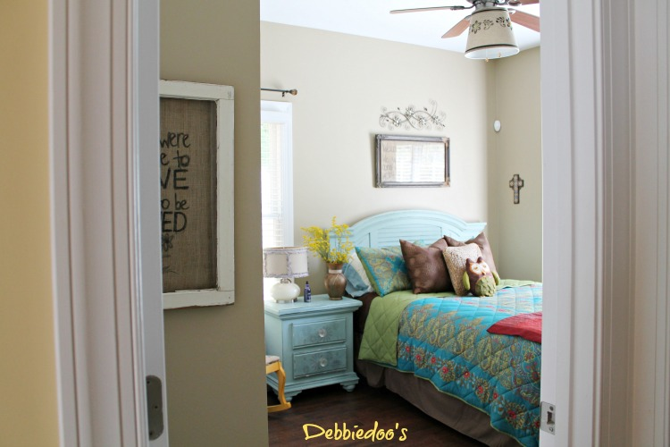 guest room with diy drum shade