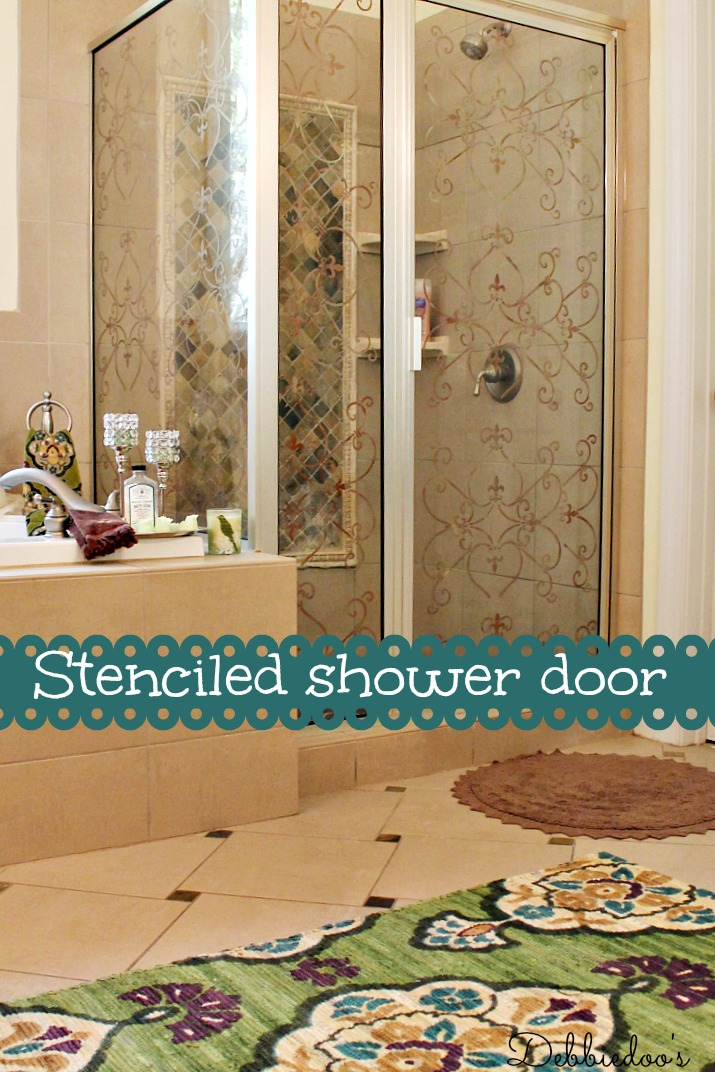 master bath shower door stenciled