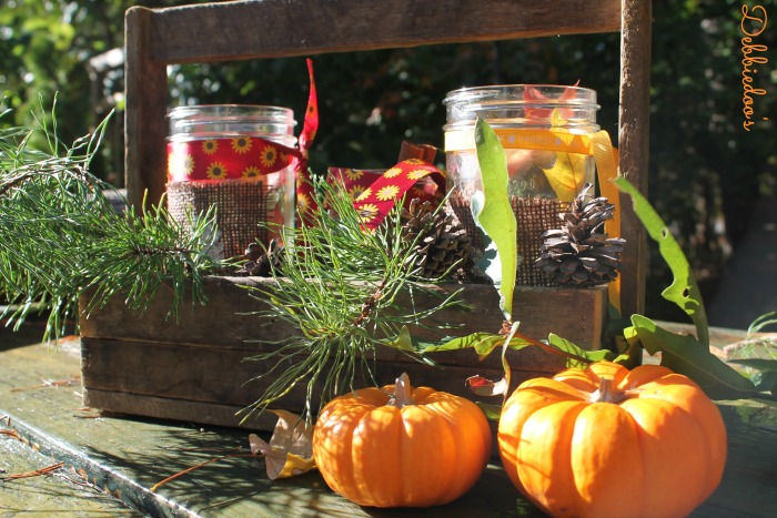 Creating vignettes with mason jars for fall 014