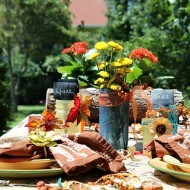 Fall outdoor tablescape with Rit dye and Mod podge mason jar centerpiece
