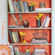 Funky-fun-book-shelf-painted-with-rit-dye-teal-and-tangerine
