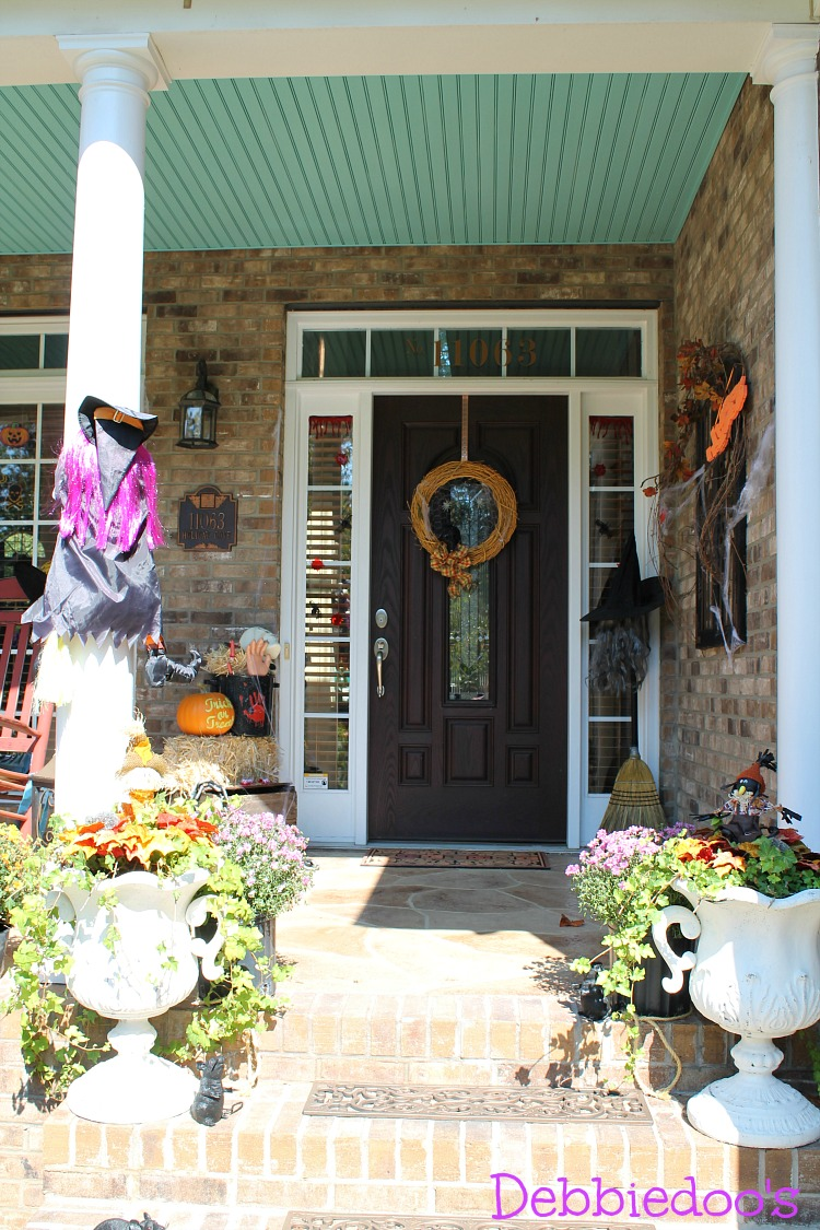 Halloween spooky porch decorated with dollar tree decor