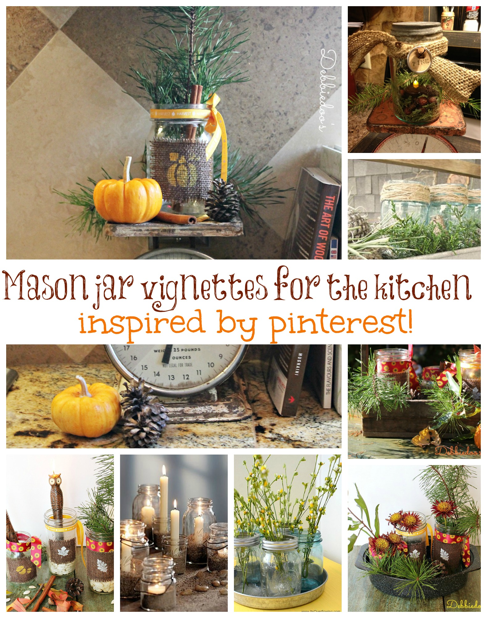 Mason jar vignettes inspired by pinterest pins