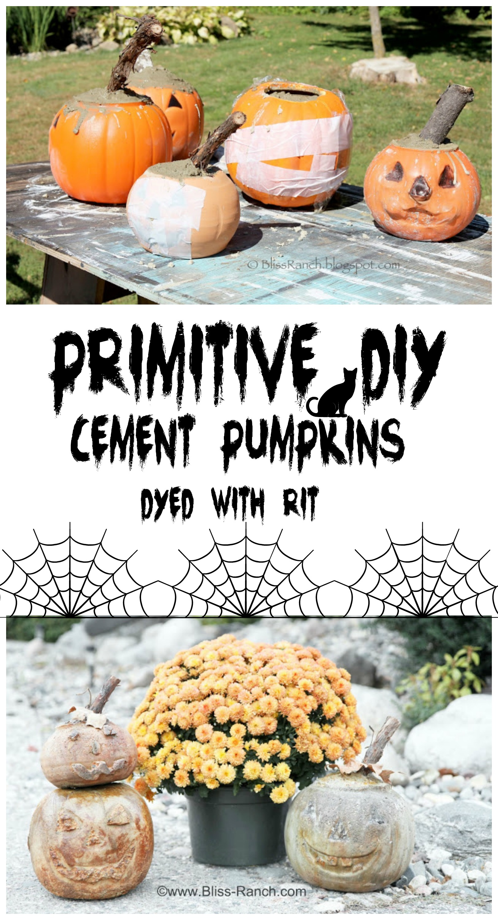 Primitive diy cement pumpkins dyed with rit dye