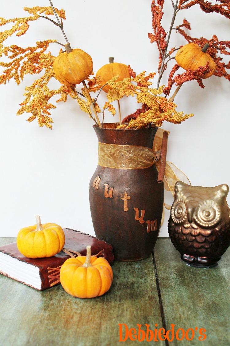 Autumn diy vase centerpiece debbiedoos
