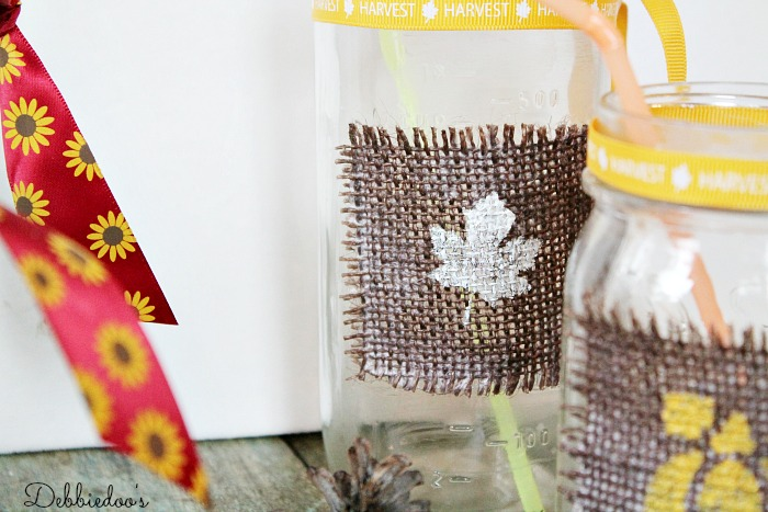 Stenciling on burlap and mason jars