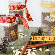 burlap on mason jars and stenciled