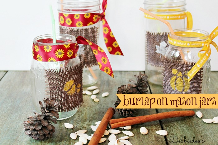 burlap on mason jars and stenciled