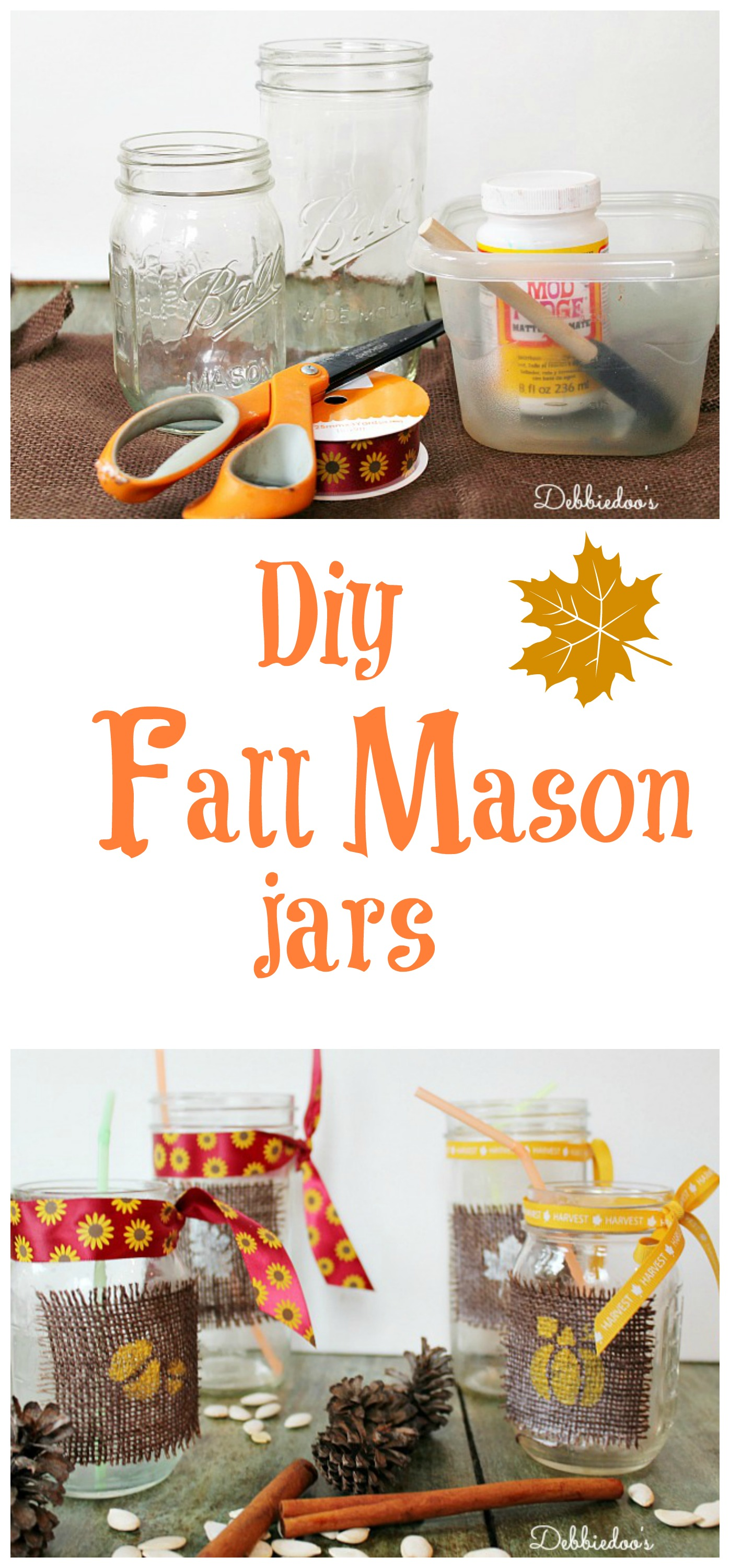 diy fall mason jars debbiedoos