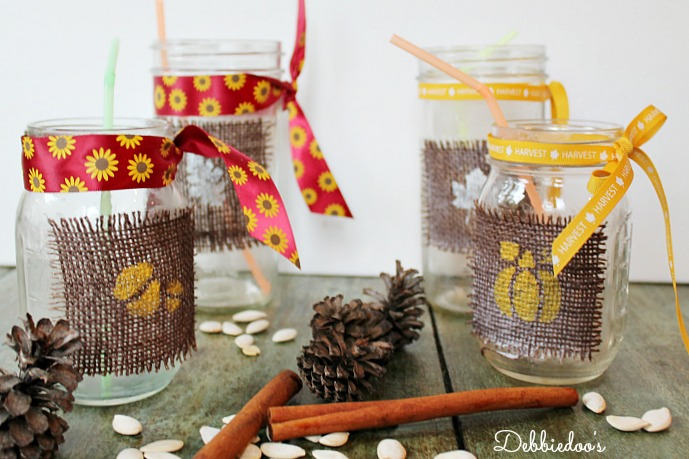 mason jars decorated for Fall
