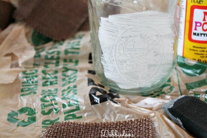 mod podge and burlap on mason jars