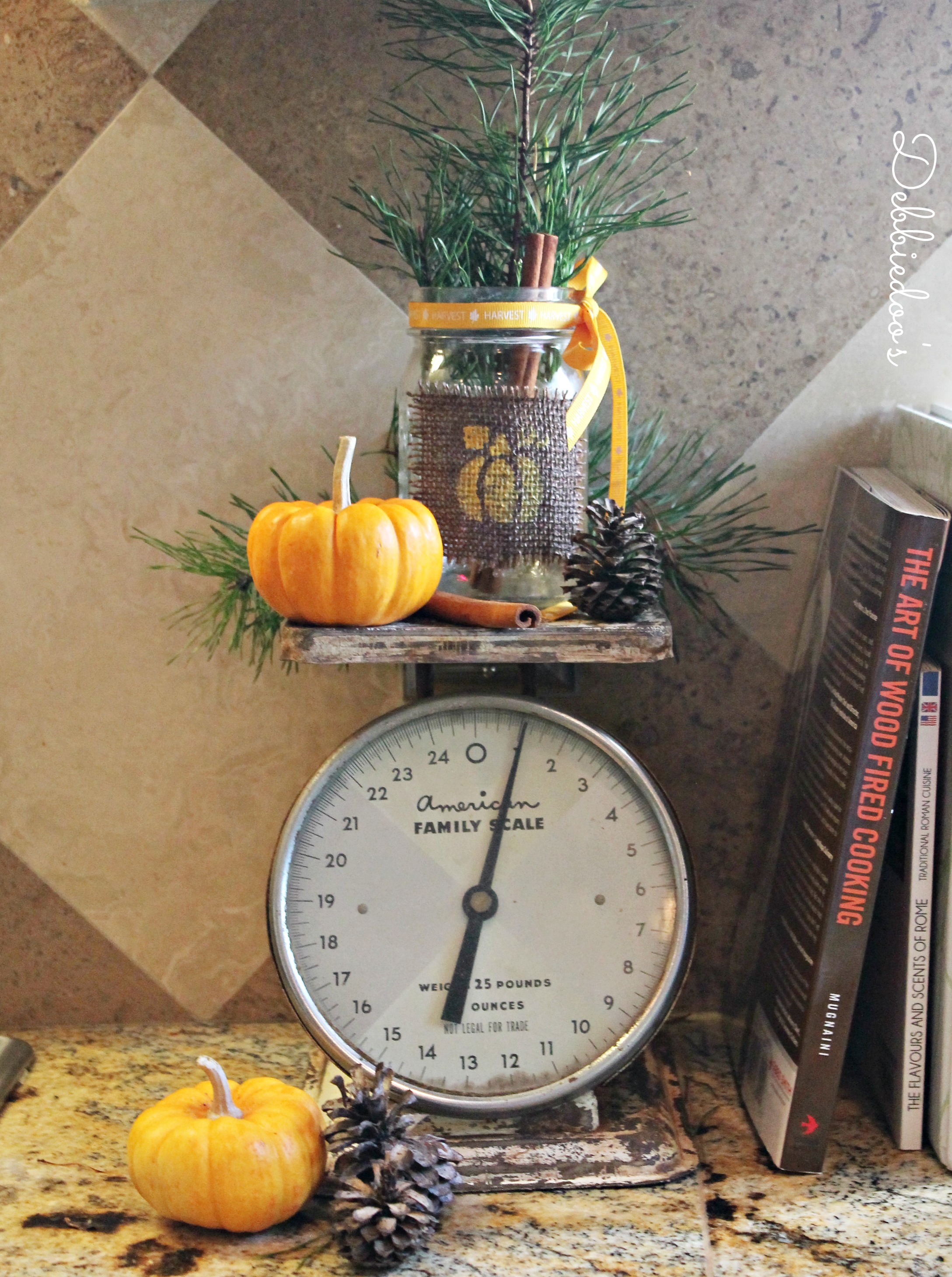 Fall mason jar vignette on vintage scale