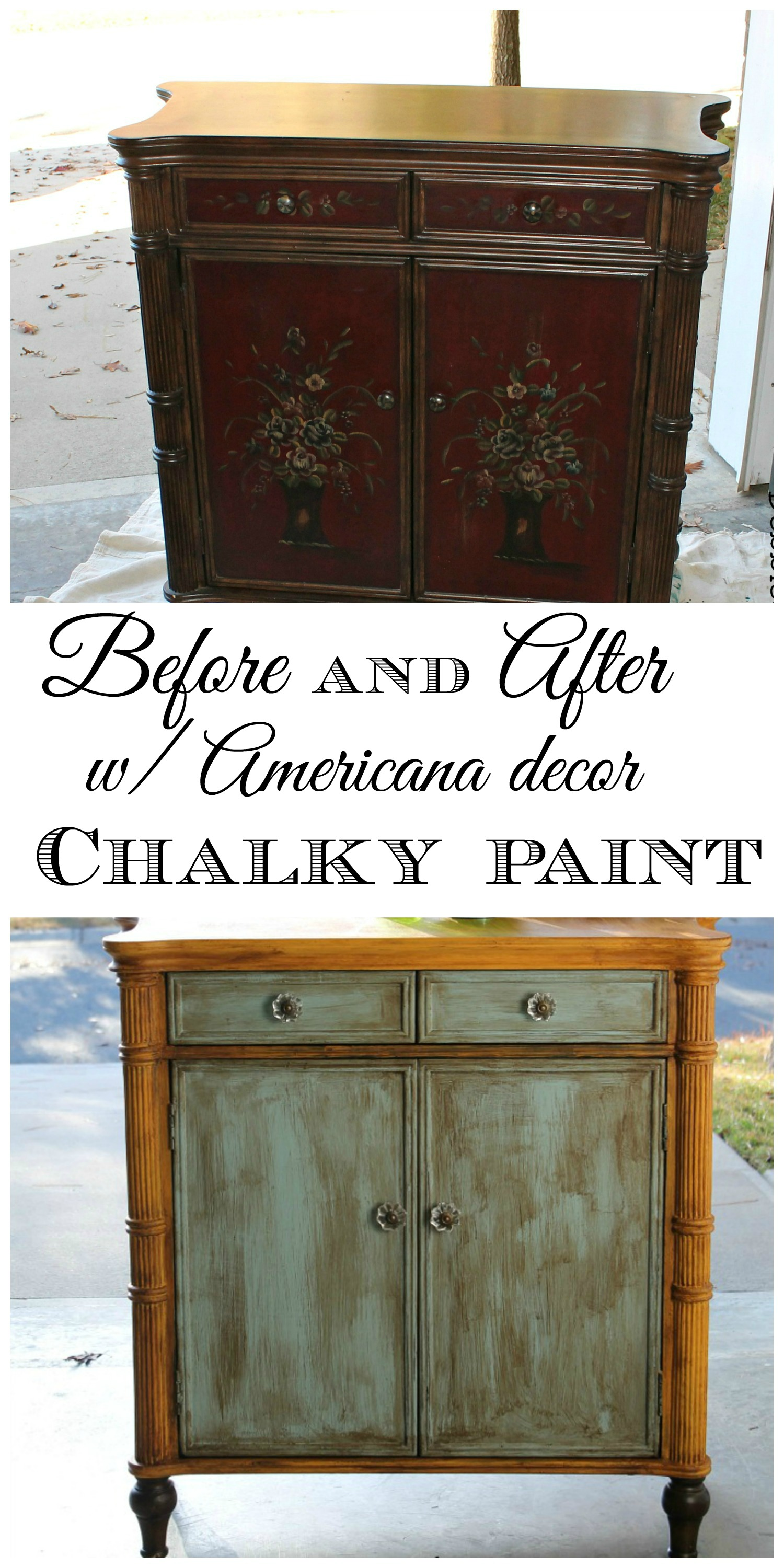 Before and after with Deco Americana chalky paint