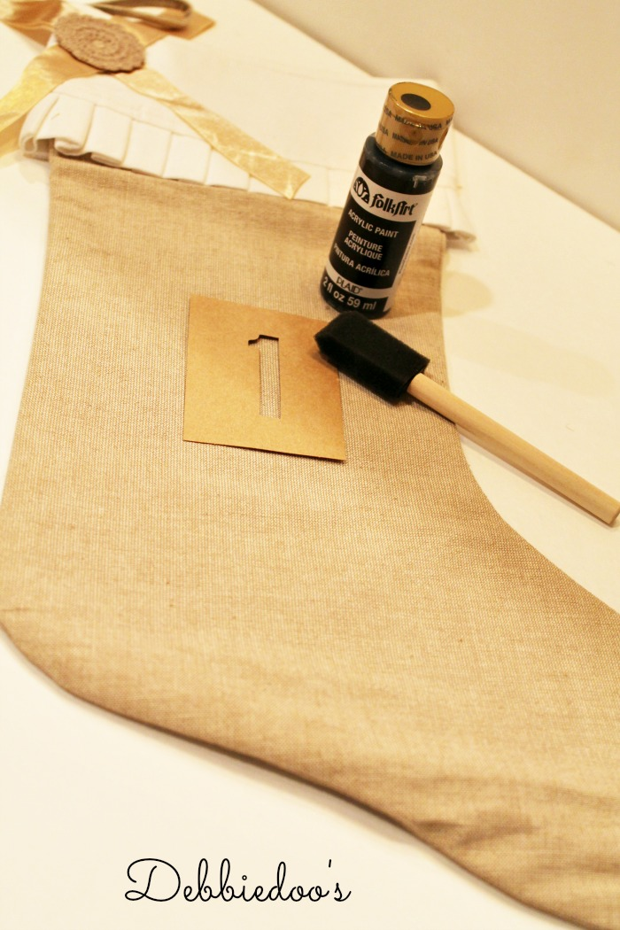 Burlap stocking stenciled