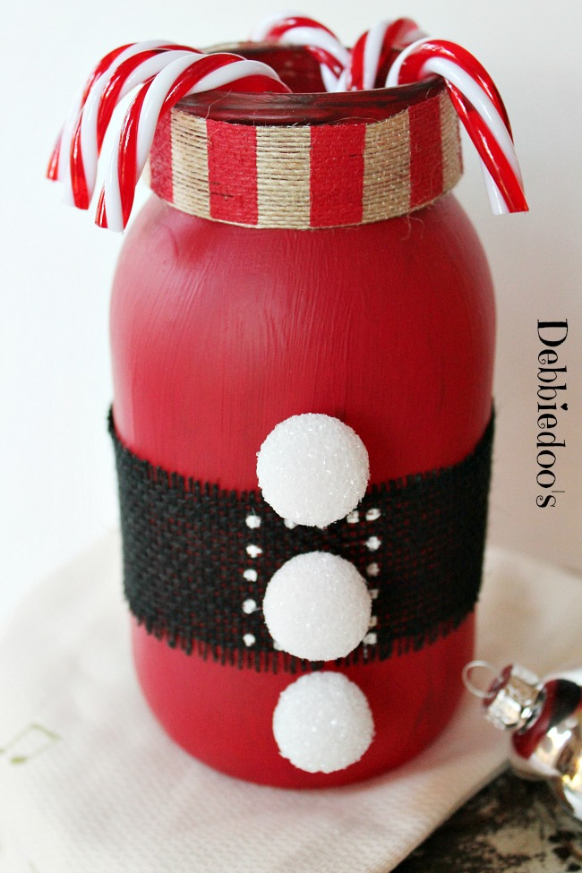Christmas jar red chalky paint