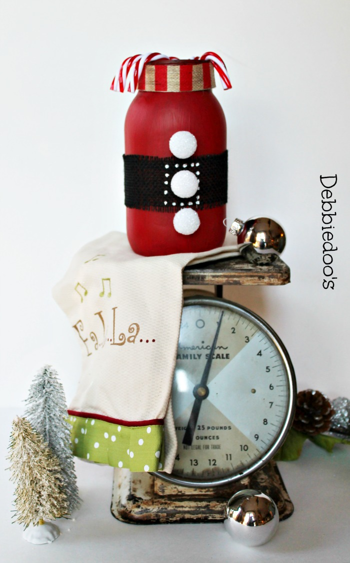 Christmas jar with chalky paint