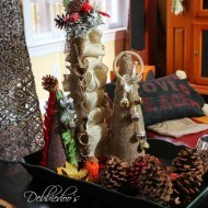 Burlap bells and Ribbon Christmas cone trees