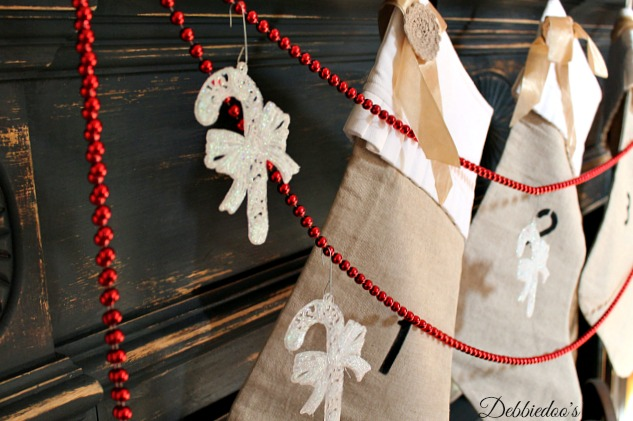 Dollar tree Christmas mantel with burlap stockings