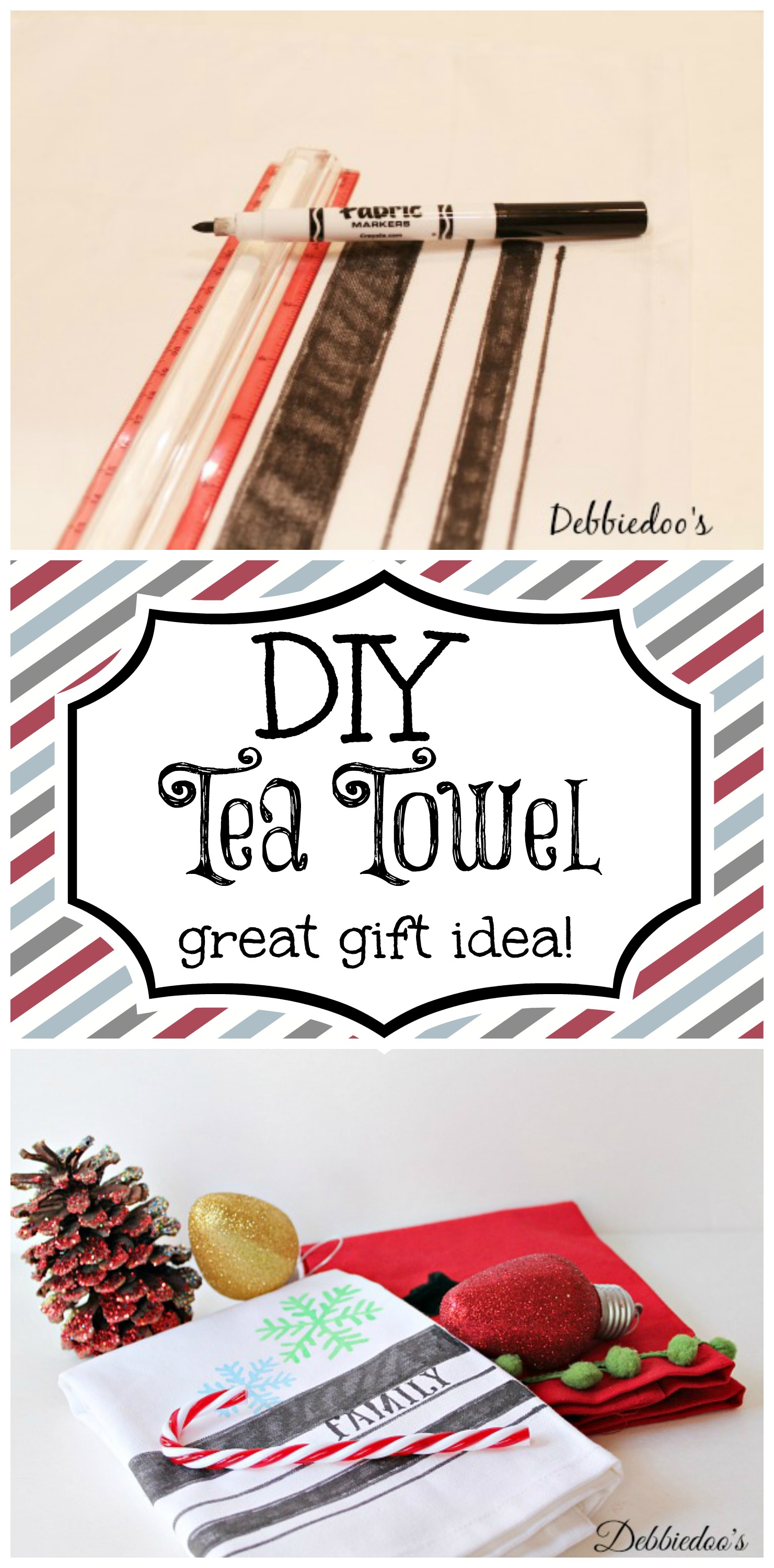 diy tea towel for Christmas