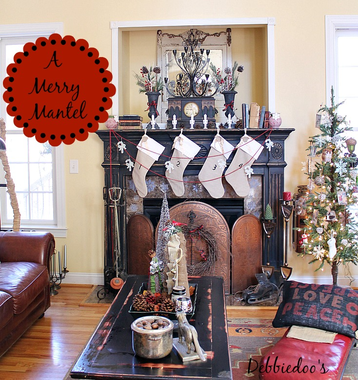 Rustic Christmas mantel with a touch of whimsy