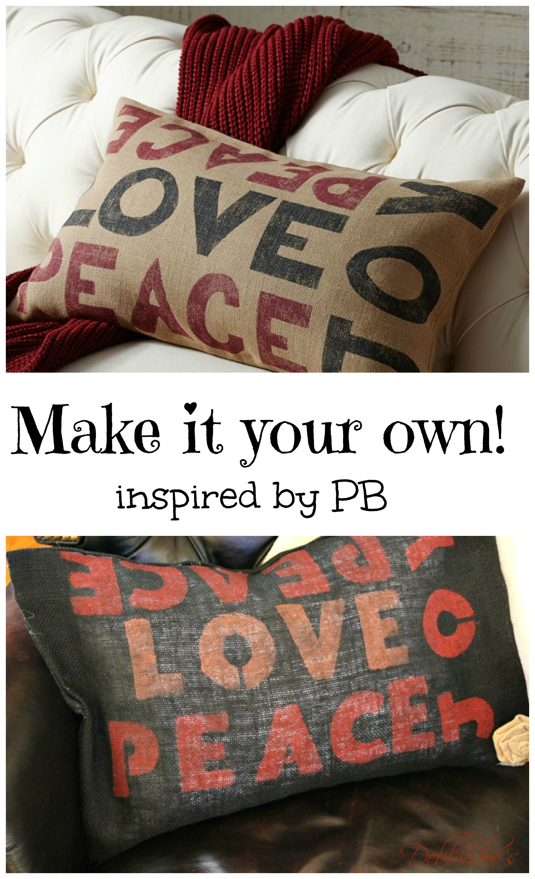 peace love joy inspired pottery barn pillow