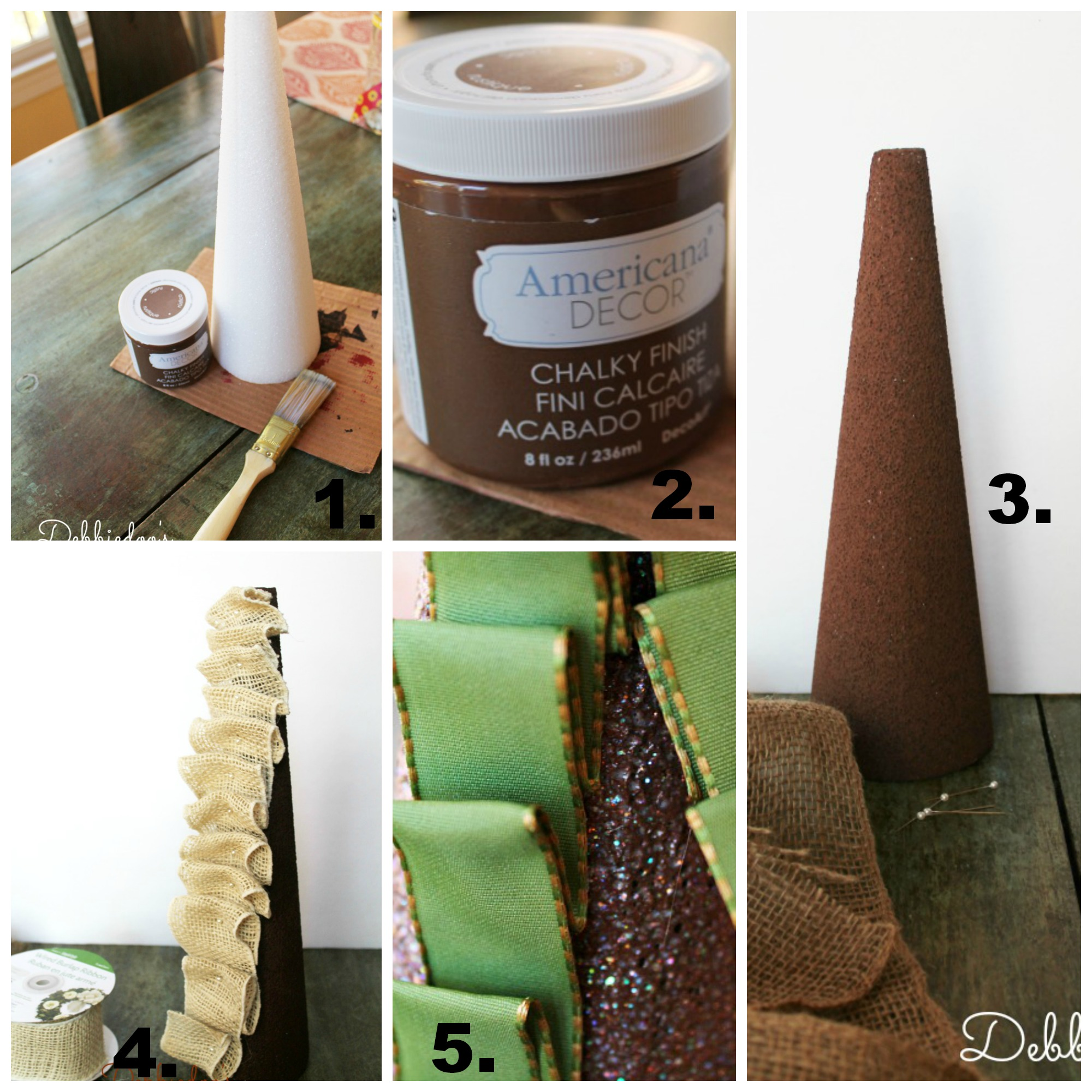 step by step tutorial on Styrofoam Christmas trees with burlap, bells and ribbon