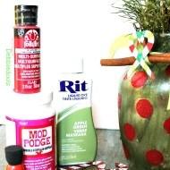 Christmas vase with Sparkle Mod Podge