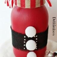 DecoArt Americana chalky paint Santa mason jar