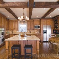 Faux wood beams in the kitchen